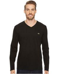 Lacoste - Long Sleeve Pima Jersey V-neck T-shirt (white) Men's T Shirt - Lyst