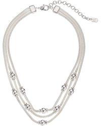 Lauren by Ralph Lauren 16 Mesh Multirow Necklace - Metallic