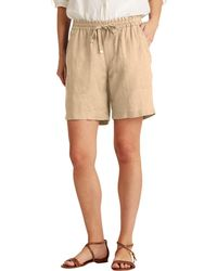 Lauren by Ralph Lauren Linen Drawcord Shorts - White