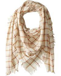 Chan Luu 100% Wool Plaid Scarf Scarves - Natural