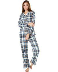 L.L. Bean Scotch Plaid Flannel Pajamas Plaid - Blue