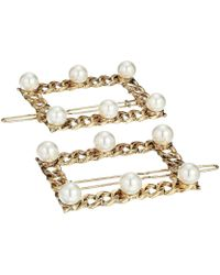 Steve Madden Simulated Pearl Station Curb Chain Square Style Duo Hair Pin Set - Metallic