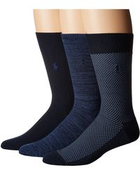 Polo Ralph Lauren - Supersoft Birdseye 3-pack (black) Men's Crew Cut Socks Shoes - Lyst