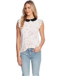 Cece Flutter Sleeve Ditsy Blouse With Collar - White