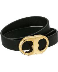 Tory Burch - Gemini Link Double Wrap Bracelet (black/tory Gold) Bracelet - Lyst