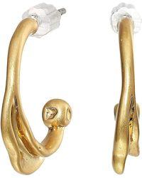 Rebecca Minkoff Organic Metal Mini Hoops Earrings - Metallic