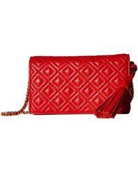 f83db1fe08a7 Tory Burch - Fleming Flat Wallet Crossbody (brilliant Red) Cross Body  Handbags - Lyst
