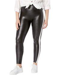 a599652e19267 Spanx - Plus Size Faux Leather Side Stripe Leggings (very Black/white)  Women's
