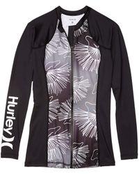 Hurley One Only Sig Zane Wailehua Long Sleeve Rashguard Zip - Black