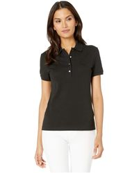 Lacoste Short Sleeve Slim Fit Stretch Pique Polo Clothing - Black