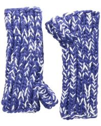 San Diego Hat Company Kng3592 Chunky Marled Knit Fingerless Gloves - Blue