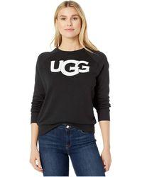 UGG Fuzzy Logo Crewneck Sweatshirt - Black