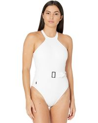Polo Ralph Lauren Ribbed Solids High Neck Belted One-piece Swimsuits One Piece - White