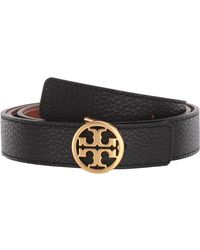 Tory Burch Reversible Logo Leather Belt - Black