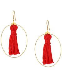 Kenneth Jay Lane - Gold Hoop W/ Red Tassel Fishhook Earrings - Lyst