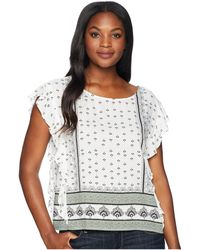 Two By Vince Camuto - Ruffle Sleeve Fan Geo Print Blouse (new Ivory) Women's Blouse - Lyst