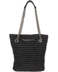 Kurt Geiger Chelsea Small Raffia Tote Handbags - Black