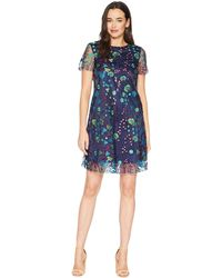 Tahari - Short Sleeve Printed Mesh Embroidery Shift (navy/teal/prune) Women's Dress - Lyst