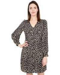 Vince Camuto - 3/4 Sleeve Animal Reset V-neck Button-down Dress Dress - Lyst