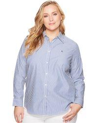 Lauren by Ralph Lauren Plus Size Striped Cotton Shirt - Blue