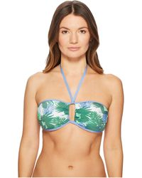Letarte - Lattice Side Bandeau (green Multi) Women's Swimwear - Lyst