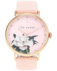 Ted Baker 37 Mm Phylipa Flowers 3-hand Watch - Pink