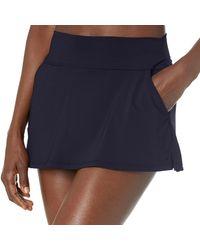 Nautica Midrise Core Solid Wide Waistband Swim Skirt - Blue