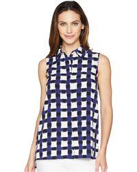 Ellen Tracy - Sleeveless Boyfriend Shirt (bali Leopard/wisteria) Women's Blouse - Lyst