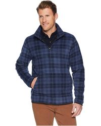 Threads For Thought - 1/2 Zip Polar Fleece (navy Plaid) Men's Fleece - Lyst