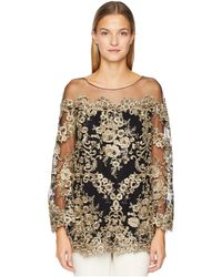 Marchesa Corded Lace Off The Shoulder Tunic With 3/4 Length Sleeves - Metallic