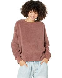 Dylan By True Grit Sherpa Drop Shoulder Crew Neck Sweatshirts - Multicolor