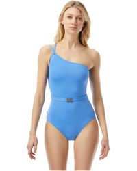MICHAEL Michael Kors Logo Solids One Shoulder One-piece Swimsuits One Piece - Blue