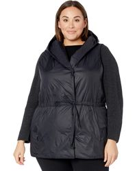 Eileen Fisher Plus Size Hooded Vest - Black
