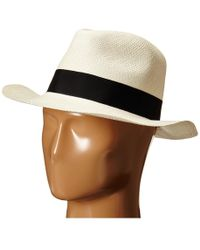 Hat Attack - Original Panama Fedora With Classic Bow Trim (natural/ivory) Fedora Hats - Lyst