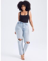 Abercrombie & Fitch Curve Love High Rise Dad Jeans - Blue