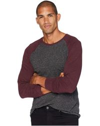 Threads For Thought - Tri-blend Long Sleeve Contrast Raglan Tee (heather Black/maroon Rust) Men's T Shirt - Lyst