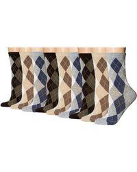 Ecco Argyle Crew Socks - 9 Pack - Multicolor