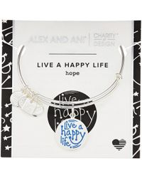 ALEX AND ANI - Charity By Design Live A Happy Life Bangle - Joe Andruzzi Foundation (shiny Sliver) Bracelet - Lyst