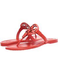 efe754eaad6eda Lyst - Tory Burch Miller Snake-embossed Logo Flat Sandal in Natural