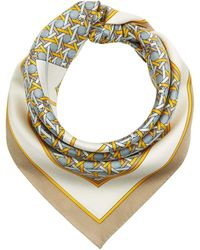 Tory Burch Basket Weave Logo Silk Neckerchief Scarves - Metallic