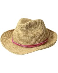 7c4f491eb00 Hat Attack - Raffia Crochet Fedora With Sueded Strands Trim (natural pinks)  Fedora