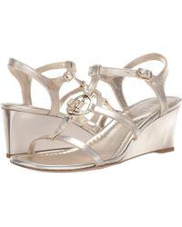 805419619dec Lauren by Ralph Lauren - Elina (platino Metallic Leather) Women s Shoes -  Lyst