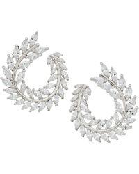 Nina - Front To Back Fern Hoop Earrings (rhodium/white Cz) Earring - Lyst