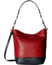 Tommy Hilfiger Maisie Pebble Leather Convertible Bucket - Red