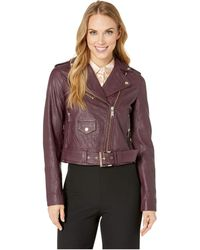 MICHAEL Michael Kors - Classic Moto Jacket (cordovan) Women's Coat - Lyst