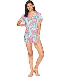 Nanette Lepore - Wonderland Floral Romper With Pockets Cover-up (multi) Women's Jumpsuit & Rompers One Piece - Lyst