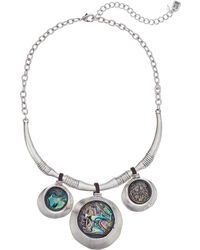 Robert Lee Morris - Silver And Abalone Disc Drop Frontal Necklace (abalone) Necklace - Lyst