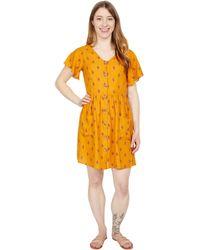Toad&Co Hillrose Button-up Short Sleeve Dress - Orange