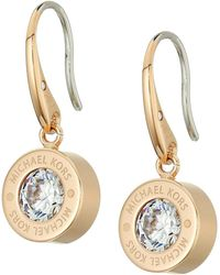 Michael Kors - Cubic Zirconium Logo Drop Earrings - Lyst