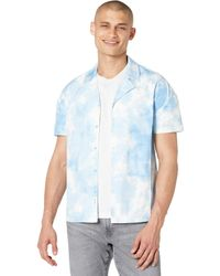 Native Youth Short Sleeve Shirt In Watercolour Print With Drop Shoulder Clothing - Blue